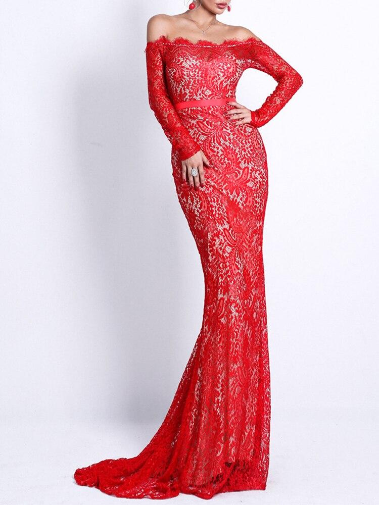 Lace Evening Dress Mermaid Off The Shoulder Formal Dress Elegant Long Sleeves Robe De Soriee Backless Maxi Party Dress Vestdios