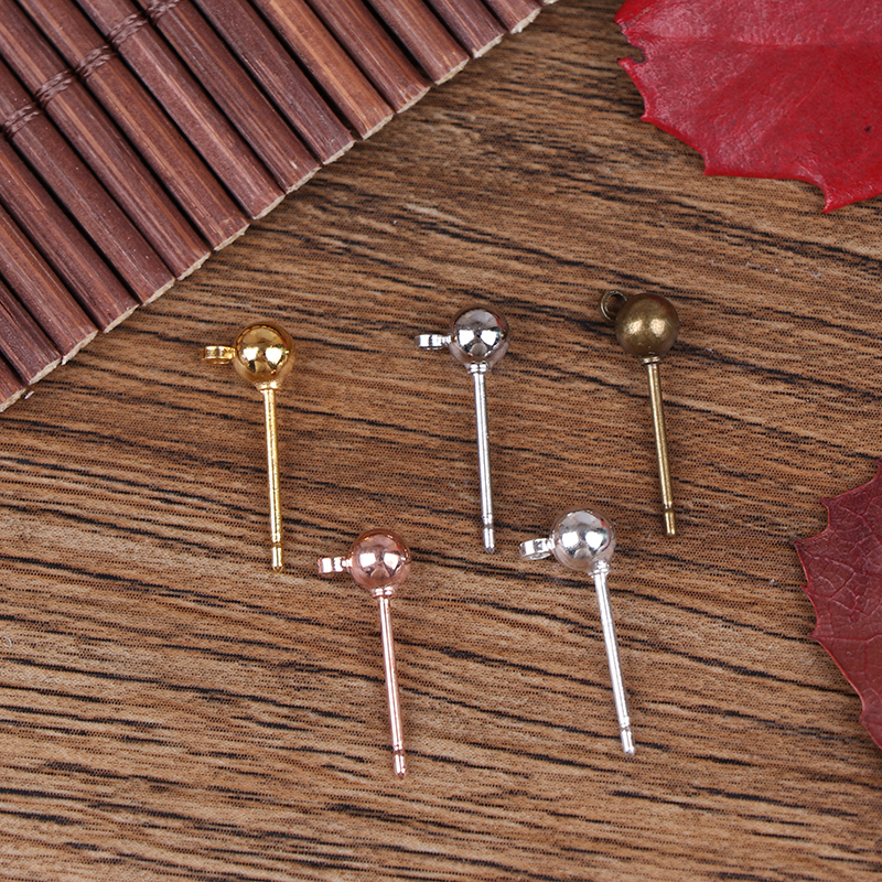 20pcs Stainless Steel Earrings For DIY Stud Earring Post With Ring For Jewelry Making Craft