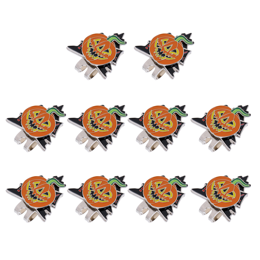 10 Pieces Halloween Pumpkin Magnetic Golf Ball Markers Clip Onto Cap Visor Hat Accessory Gift For Golfer