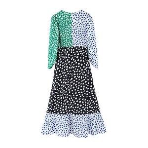 Image 4 - 2019 Autumn Vintage Print plaid Chiffon Dress Long sleeve V neck Contrast Color Stitching Split Dresses New Casual Slit vestido