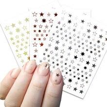1 pçs 3d ouro/rosa ouro/sliver estrela projetos da arte do prego etiqueta charme design adesivo dicas transferência sliders manicure decoração nova