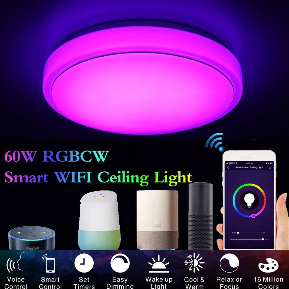 US $9.9 Led decke licht lampen schlafzimmer wohnzimmer lampe arbeit mit  alexa echo google home 9w AC 9 V/ 9V Smart Led decke Licht auf