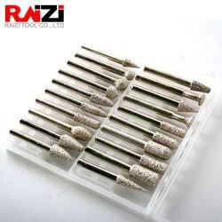 Raizi 20pcs Vacuum Brazed Diamond Burr Set for Stone Shaping Rotary Tools 1/4