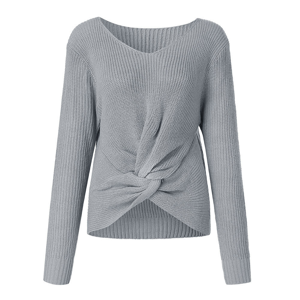 Pull Femme Hiver Sweaters Long Sleeve Solid Color V-neck Sexy Cross Knotted Panel Sweater Women Plus Size Roupa Feminina 2019