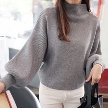 Latern Sleeve Women's Clothing Sweaters Wool Cotton-Acetate Bodysuit Streetwear Women Pullovers Winter Jumpers Knitwear CS0972(China)