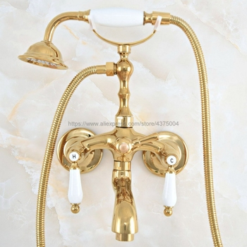 Gold Color Brass Wall Mounted Telephone Bathtub Faucet Mixer Tap w/ Hand Shower Bath Shower Tub Faucet Dual Handles Nna821