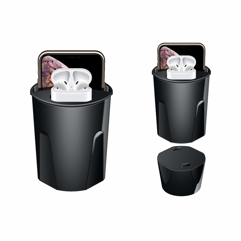 X9A 10W Wireless 4 in 1 Car Charger Cup with Dual USB Output for IPhoneXS/XR/XS Max for Airpods Mobile Phone