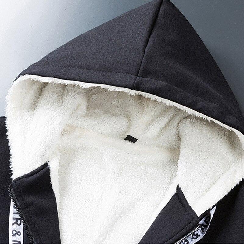 Patchwork cálido traje deportivo hombre interior de lana dos piezas conjuntos con capucha sudaderas con capucha pantalones de chándal FItness ropa de entrenamiento ropa deportiva hombres - 5