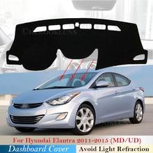 Cubierta protectora para salpicadero de coche, alfombrilla para Hyundai Elantra 2011, 2012, 2013, 2014, 2015, MD, UD, Avante, accesorios, Alfombra de sombrilla