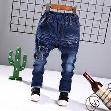 2019 Autumn New Boys Ripped Jeans Children Cowboy Trousers Kids Soild Cotton Middle Waist Denim Long Pants Baby