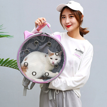 New cute ear cat bag PU breathable pet out portable backpack, supplies