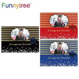Image 1 - Funnytree 2021 graduação pano de fundo personalizado foto da criança preto azul photophone papel de parede parabéns grad diamante fundo banner
