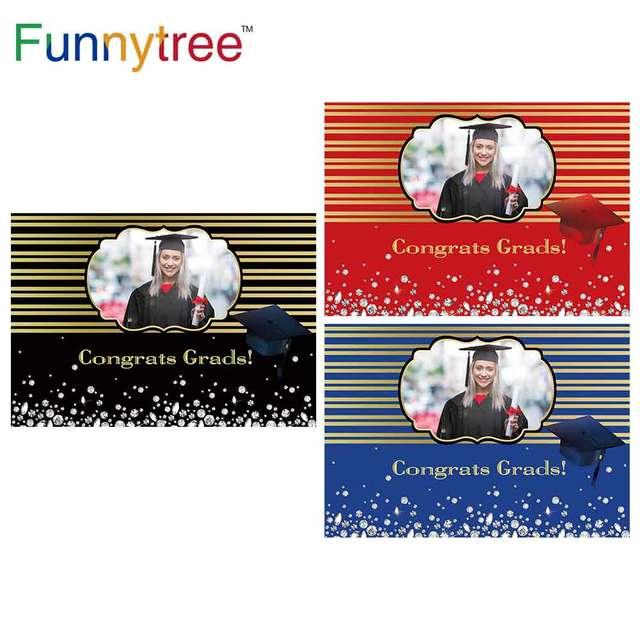 Funnytree 2021 graduação pano de fundo personalizado foto da criança preto azul photophone papel de parede parabéns grad diamante fundo banner