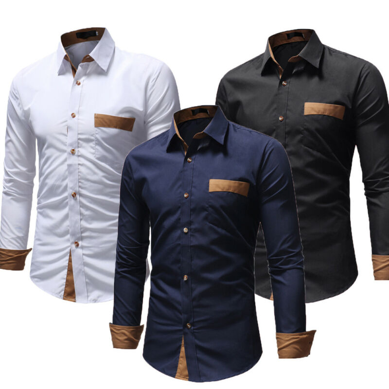 Men Shirt Button Down Fashion Solid Male Casual Long Sleeve Tops Shirt For Men Slim Regular Fit Work Shirt Elastic Bamboo Fiber