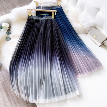 fashion Gradient Color Tulle Skirt Women High Waist Pleated Long Skirt Female A-line Tutu Summer Mesh Skirt 2020 new mosaic chiffon pleated skirt contrasting color academic pleated skirt short skirt goth fashion a line above knee
