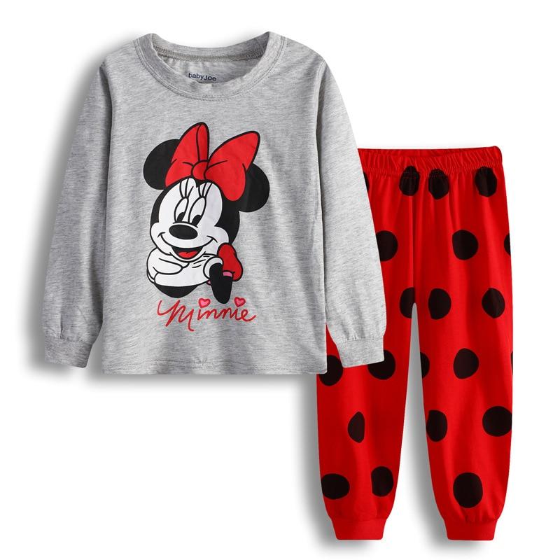 Autumn Winter Mickey Minnie Kids Girls Boys Clothes Baby Pajamas Long Sleeved Cartoon Children's Edward Sleepwear 6