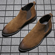 Fashion Men Boots Big Size Ankle Chelsea Boots Male Shoes Hombre Genuine Leather British Men Boot High Quality Casual Men Shoes2 cheap LMPPW Cow Leather Elastic band Fits true to size take your normal size Pointed Toe Solid Sewing Rubber Cow Suede Winter