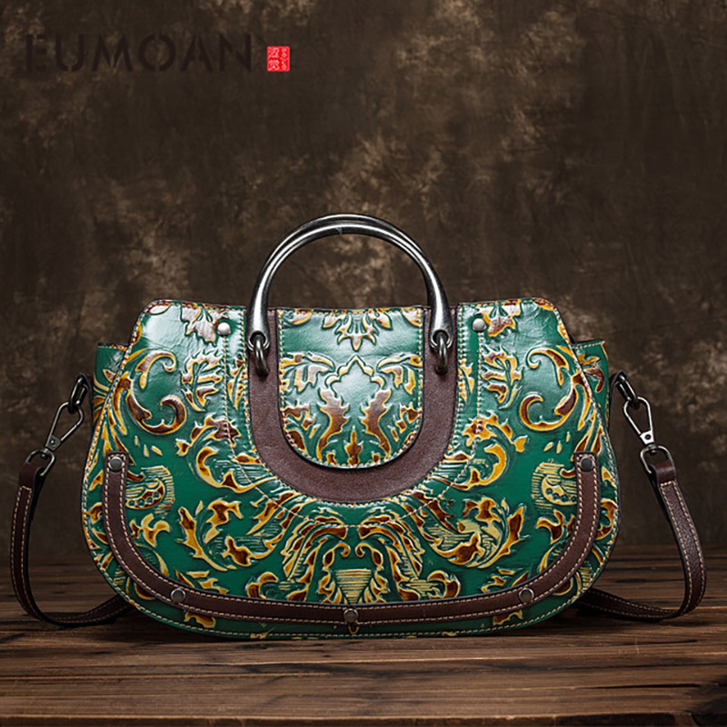 EUMOAN 2020 New leather carved diagonal portable handbag vintage ethnic wind flower female handbag genuine leather bag women-in Top-Handle Bags from Luggage & Bags    1
