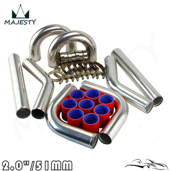 """TURBO INTERCOOLER PIPE 2"""" CHROME ALUMINUM PIPING PIPE TUBE+T-CLAMPS+SILICONE HOSES RED"""