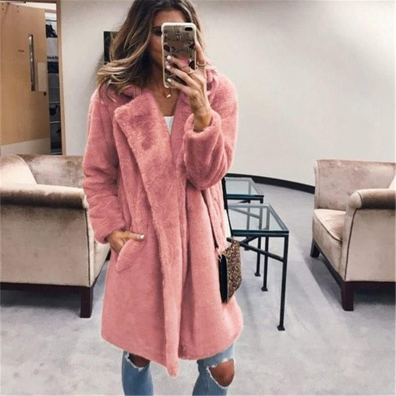 Ladies Warm Faux Fur Coats And Jackets Winter Solid Turn Down Collar Outerwear