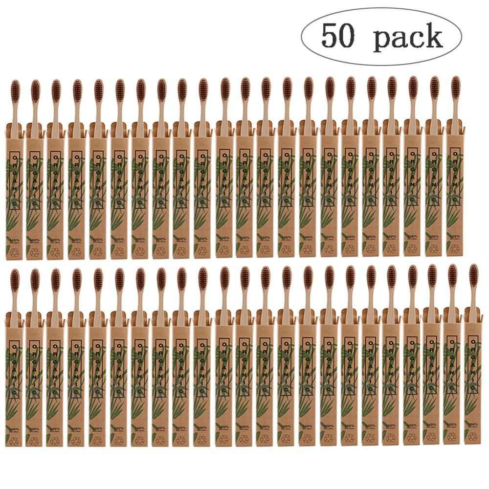 50pcs/lot Natural Bamboo Toothbrush Environmentally Oral Care Health Tool Soft Bristles White Tooth Brushes