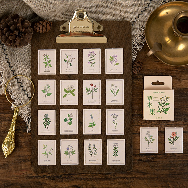 46pcs Vegetation Collection Stickers Set Green Plant Herb Leaf Sticker Decoration Adhesive Note Post Diary Gift Paste A6536