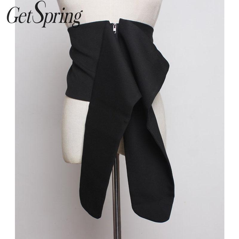 GetSpring Women Wide Belt Fashion Women Cummerbunds Zipper Tassels Black Wide Bandage Belt All Match Women Large Waistband 2019
