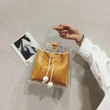 2019 été nouveau JIULIN mode coréenne portable transparent une épaule simple pompage diagonale seau sac