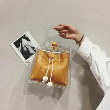 2019 yaz yeni JIULIN Kore moda taşınabilir şeffaf tek omuz basit pompalama diyagonal kova çanta