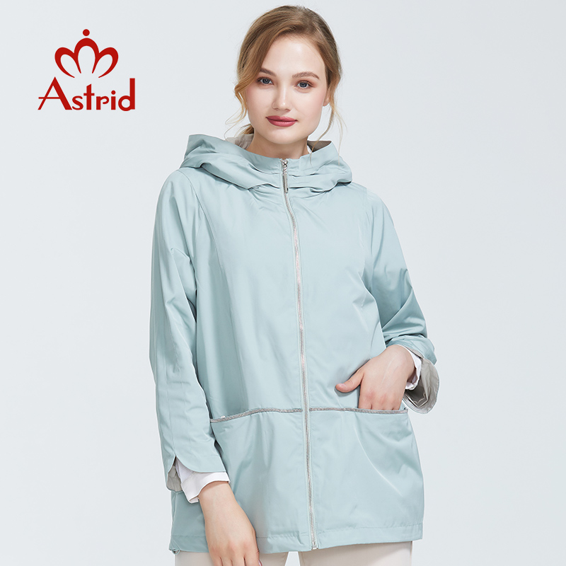 Astrid 2019 Women Spring  New Collection Spring Sky Blue Big Size Trench Women Coat Short Women Fashion Overcoat  AS-6102