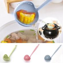 2 in 1 Long Handle Soup Spoon Home Strainer Cooking Colander Kitchen Scoop Plastic Ladle Tableware