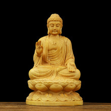 Buddha Sakyamuni Wood Carving Boxwood Figurine Buddha Statue Small Buddha Sculpture Crafts buda estatua GY54(China)