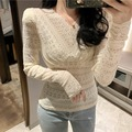 Lace Shirt Women's 2019 Winter New Style Puff Sleeve Sexy V-neck Base Shirt Korean-style Solid Color Slim Fit Long-sleeved Upper