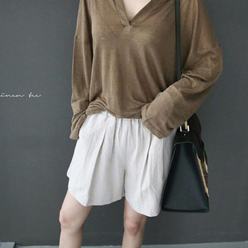 New WOMEN Solid Color Loose Style Linen Cotton Shorts Fashion Novel Comfortable Casual Women 39 s Shorts in Shorts from Women 39 s Clothing