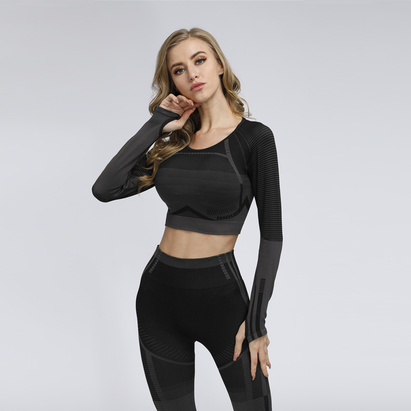 Women Seamless Yoga Set Fitness GYM Clothes Long Sleeve Shirts High Waist Running Leggings Workout Pants Shirts Sports Suits
