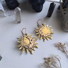 Fashion Bohemia Sun and Moon Earrings Gold Drop Earrings for Women Female Boho Wedding Party Jewelry Gift for Her