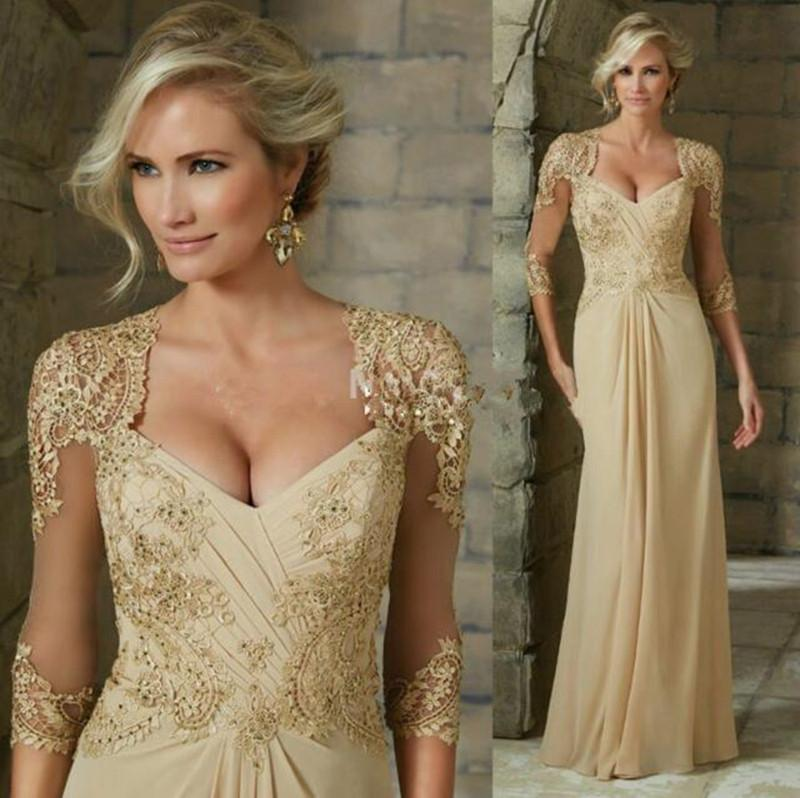Elegant Chiffon Mother Of The Bride Dresses Lace Appliques Beads Formal Evening Gowns 2020  Plus Size Wedding Guest Dress