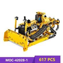 Blocos de construção bulldozer técnico 42028-1 blocos de construção 617 peças tijolos de construção de tijolos crianças brinquedo criatividade presente