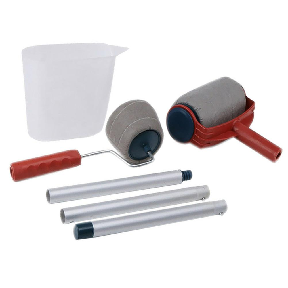 6pcs//Set Paint Pro Roller Brush Set Wall Painting Edge Handle Tool Kit Home