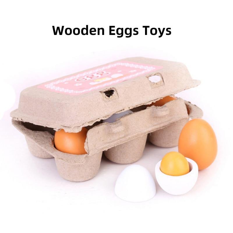 6pcs/Set Wooden Eggs Toys Pretend  Kitchen Play Toys Set Food Wood Egg Yolk Preschool Toys For Kids Gift