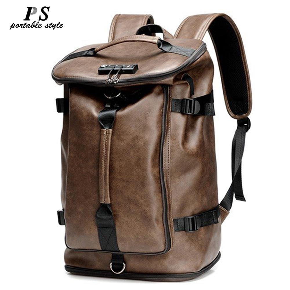 Hot Vintage Multifunction Fashion Men Backpack Genuine Leather Backpack Leather School Bag Neutral Portable Wearproof Travel Bag
