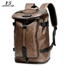 Hot Vintage Multifunction Fashion Men Backpack Genuine Leather Backpack Leather