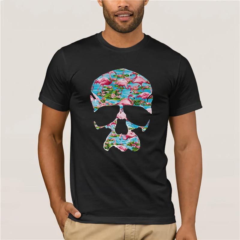 Fresh Swag Hipster Tropical Tumblr Unisex Mens Top Flamingo Skull T-Shirt