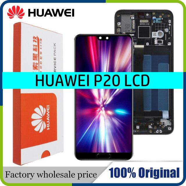 100% الأصلي LCD مع الإطار لهواوي P20 EML L09 EML L22 EML L29 EML AL00 شاشة الكريستال السائل مجموعة المحولات الرقمية لشاشة تعمل بلمس استبدال