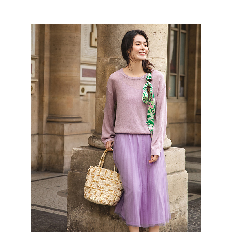 INMAN Spring Autumn O-neck Collar Literary Retro Fairy Gauze Fake Two-pieces Long Woman Wool Dress