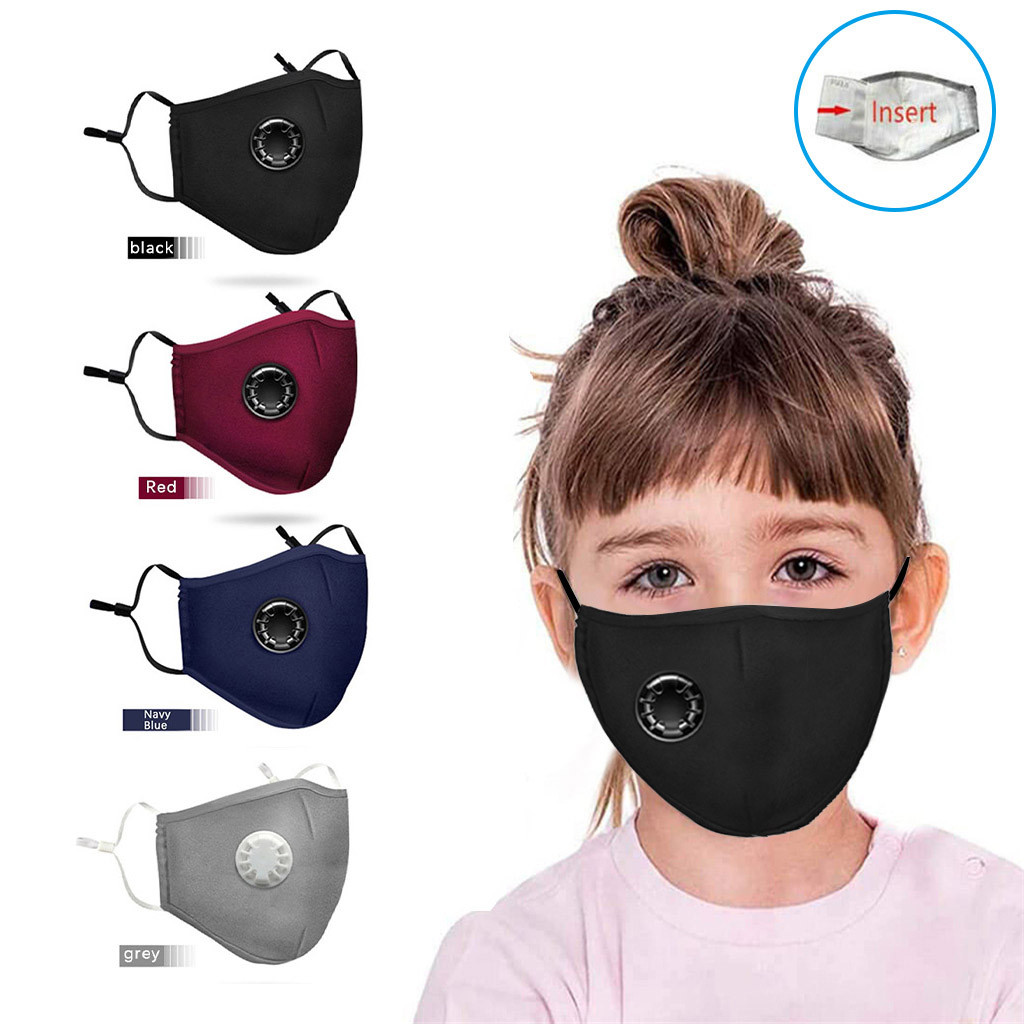 Kids Anti Pollution PM2.5 Mouth Face Mask Breath Valves Filter Papers Pads Kids Anti-Dust Face Mask Activated Carbon Filter