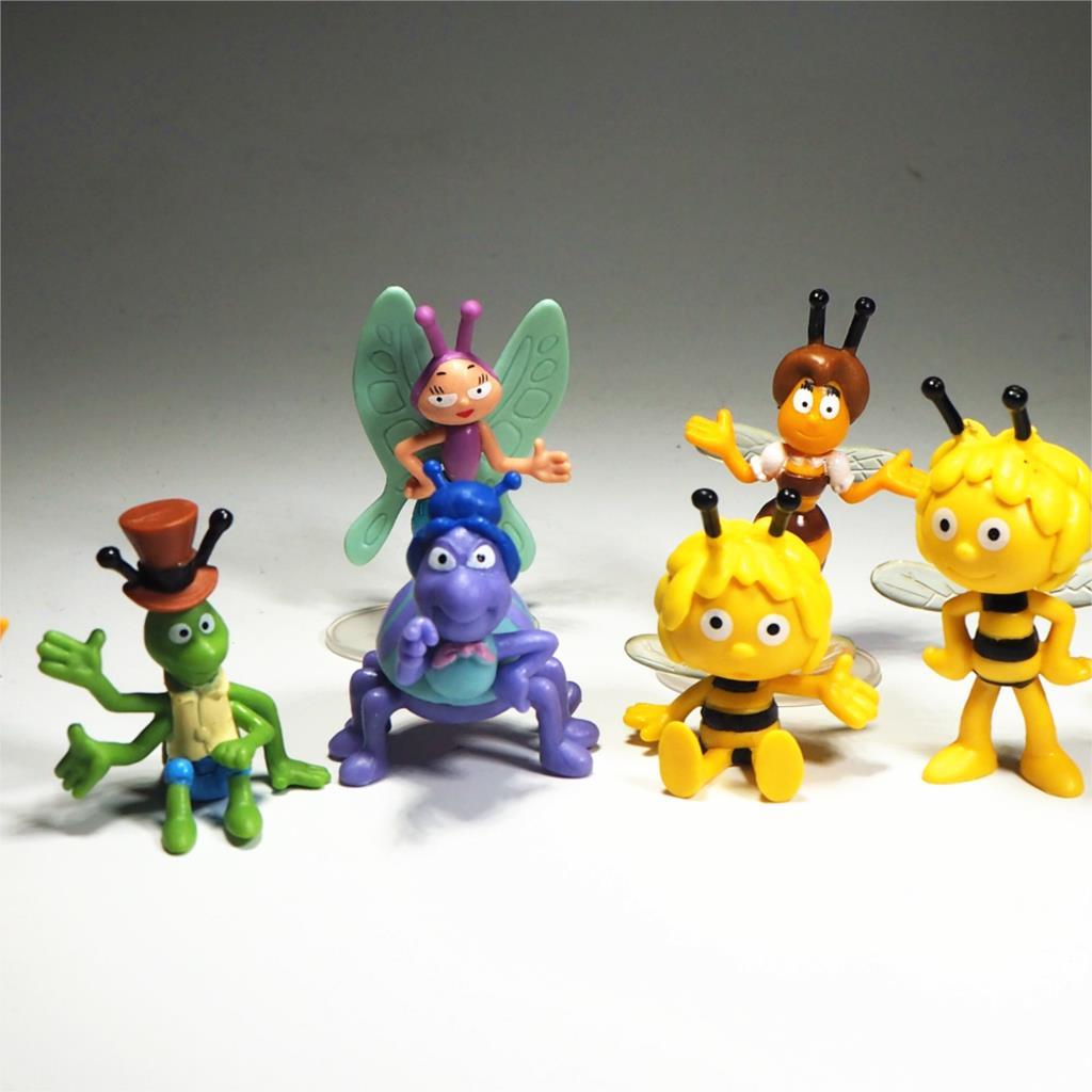 9 Uds. Conjunto de Juguetes de Abeja Maya Linda figura de acción para niños muñecas de Pvc Mini juguete de abeja para niñas niños decoración de torta de cumpleaños