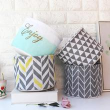 Storage Box Linen Cotton Geometry Pattern Organizer waterproof Cloth Basket Cosmetic Case