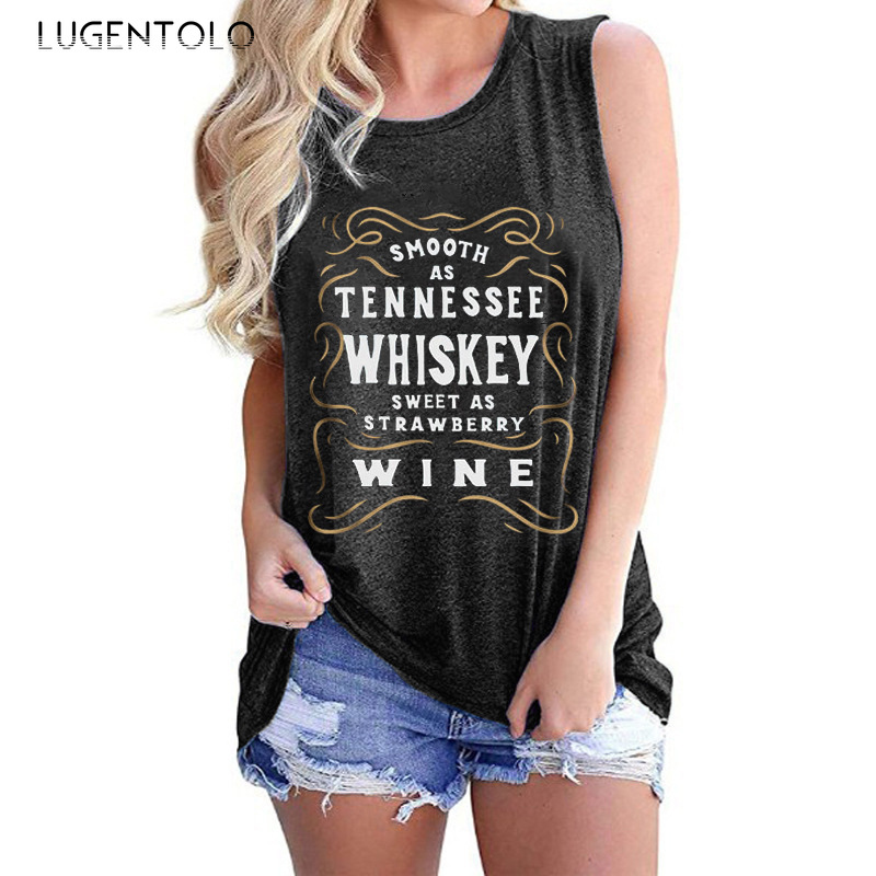 Lugentolo Women T-shirt Summer Vest Sleeveless O-neck Casual Top Smooth As Tennessee Whiskey Letter Print Fashion T-shirts image
