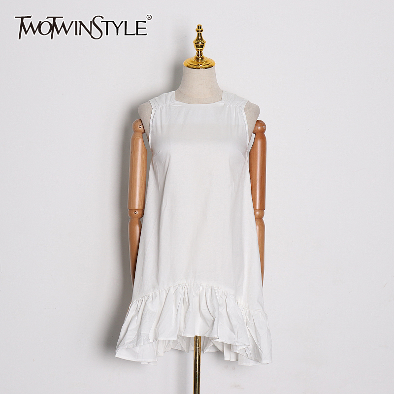 TWOTWINSTYLE Bowknot White Women's Dress Square Collar Sleeveless Casual Loose A Line Casual Dresses Female 2020 Spring Fashion